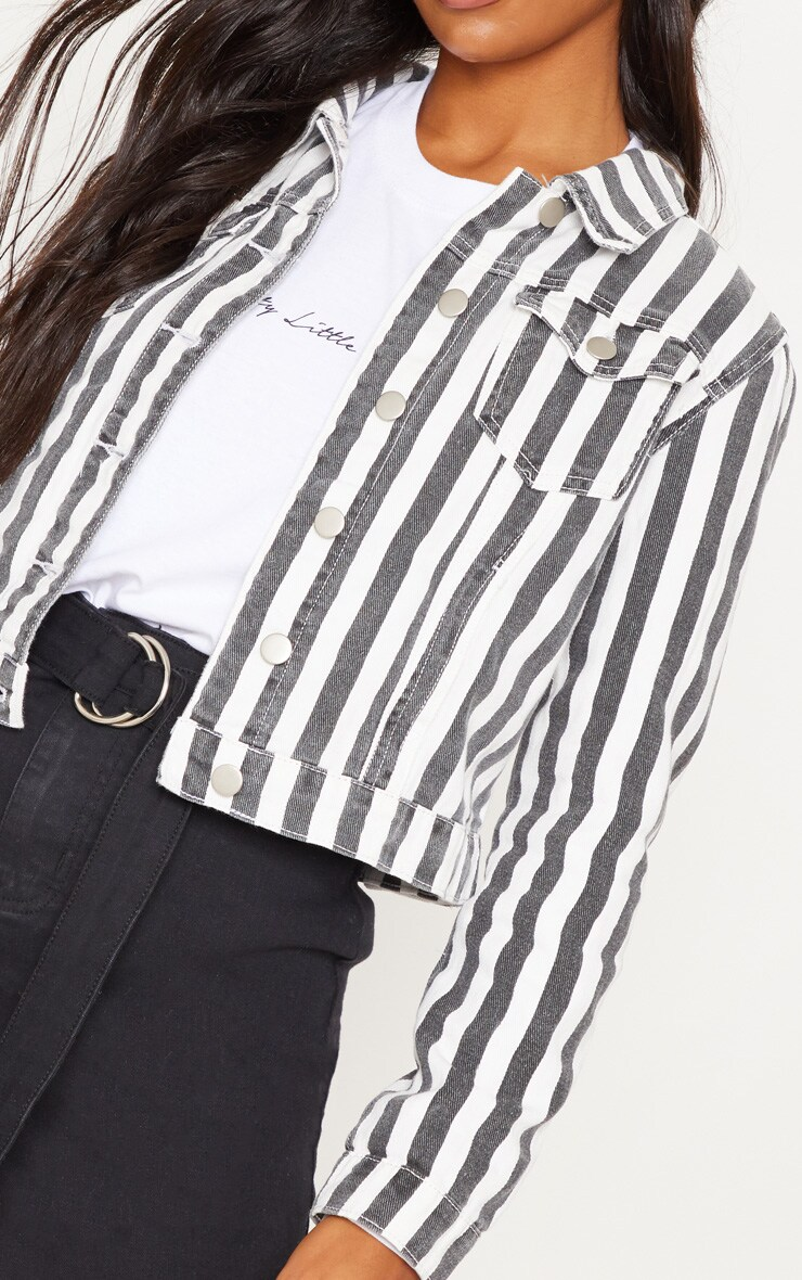 Monochrome Stripe Denim Jacket 4