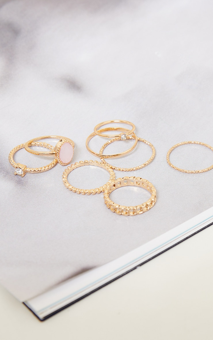 Gold Mixed Textured Ring 8 Pack 3