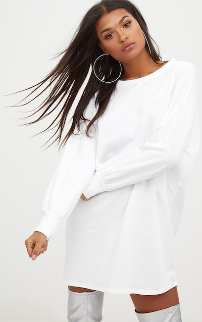 0d343bd781 White Oversized Sweater Dress