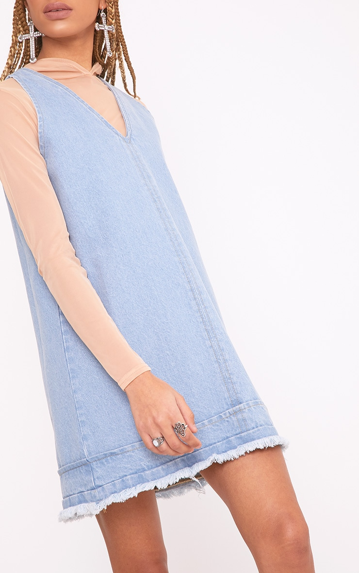 Rhada Light Wash V Neck Zip Back Denim Dress 5