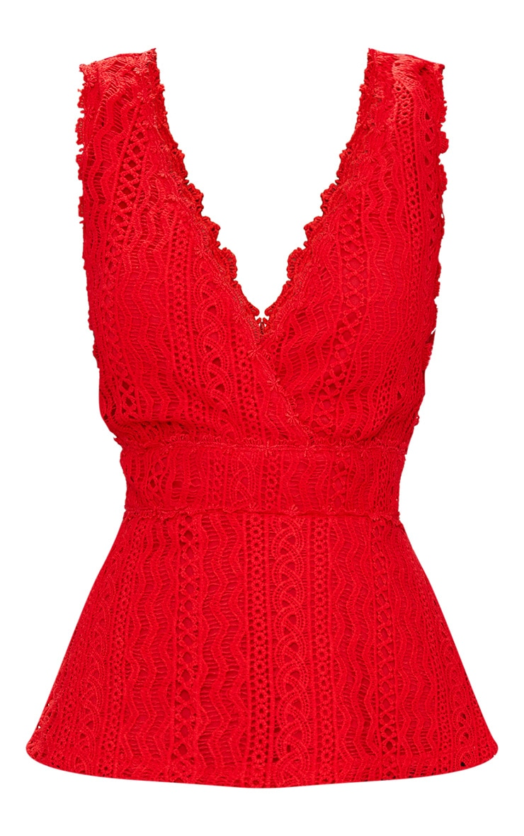 Red Lace Plunge Top 3