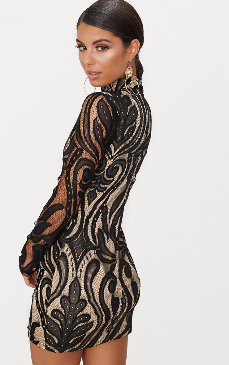 Black High Neck Long Sleeve Lace Bodycon Dress 2