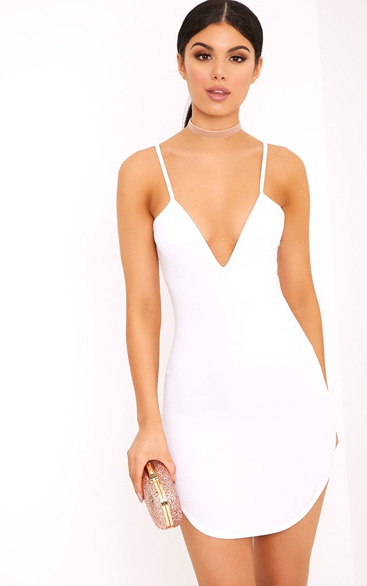 Hattie White Strappy Curve Hem Bodycon Dress 1