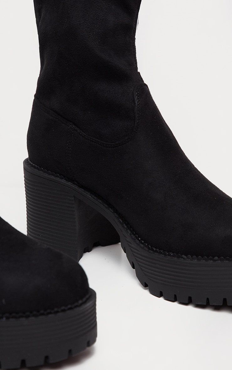 Black Faux Suede Chunky Sock Boot  4