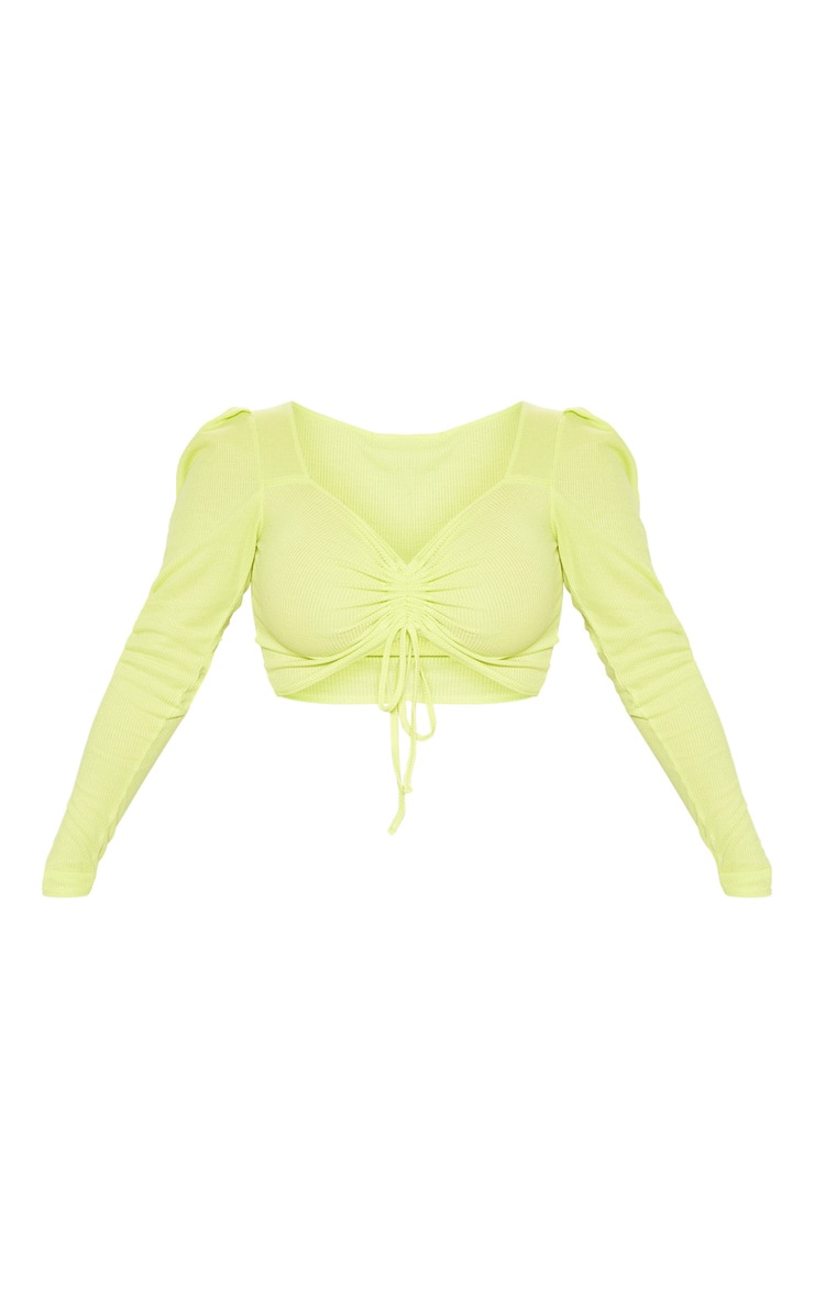 Lime Rib Ruched Front Long Sleeve Crop Top 3