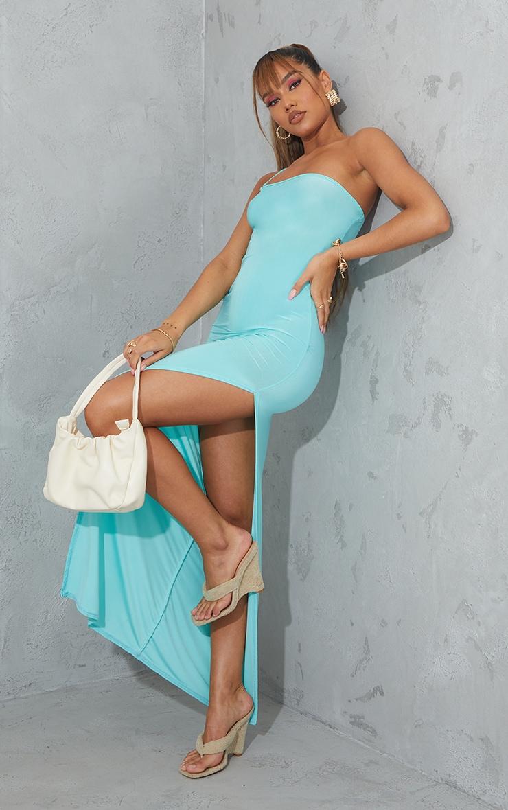 Aqua Blue One Shoulder Slinky Maxi Dress 3