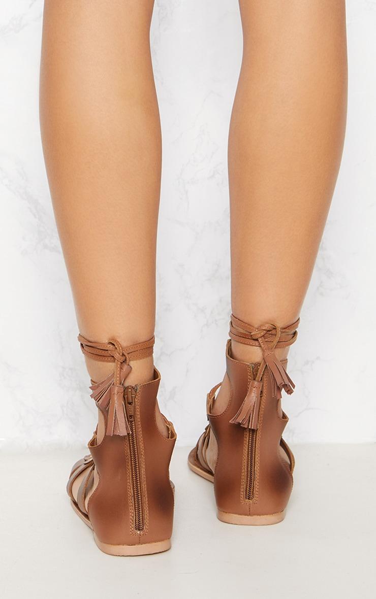 Tan Leather Ghillie Sandal 4