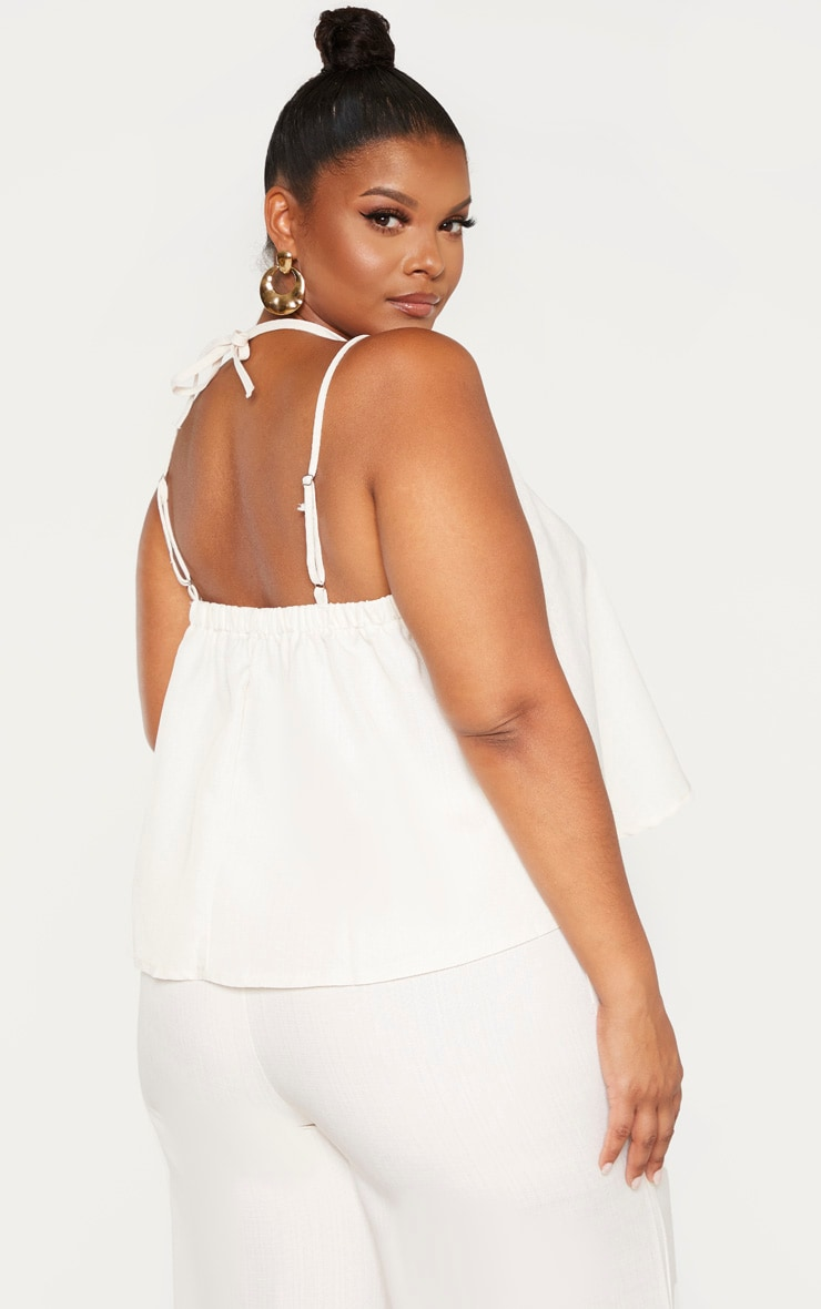 Plus Stone Woven Tie Back Cami Top  2