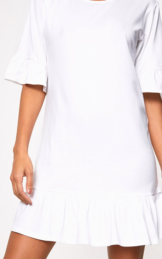 White Jersey Frill Hem Shift Dress 5