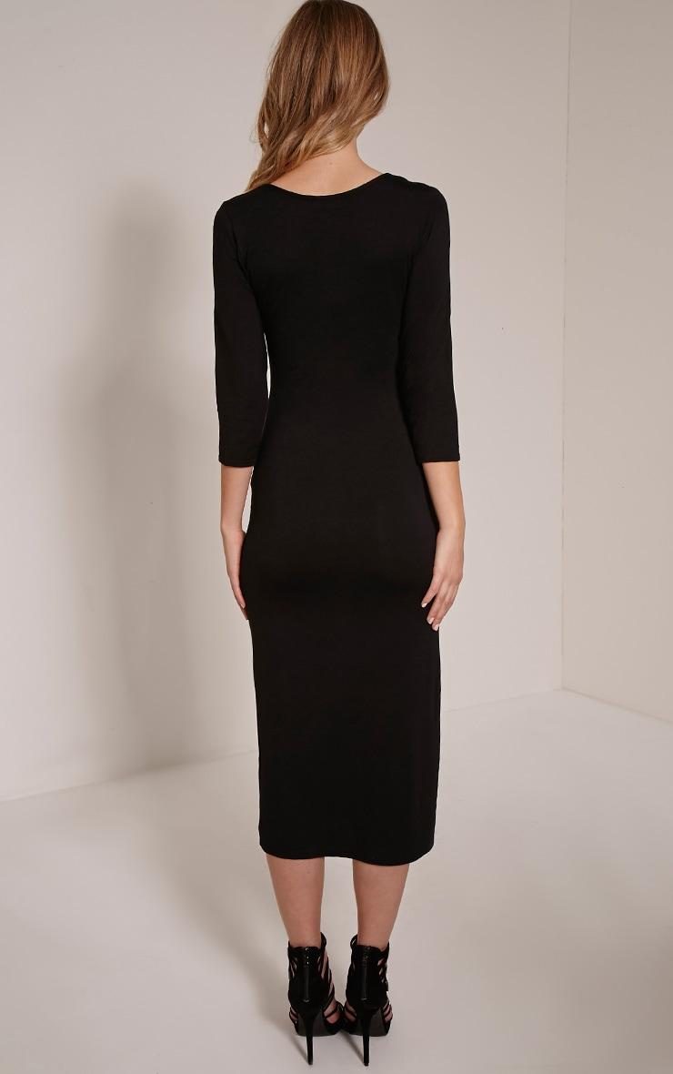 Basic Black 3/4 Sleeve Midi Dress 2