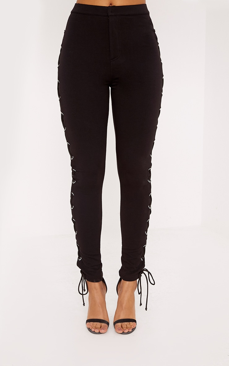 Lulu Black Side Lace Up Skinny Pants 2