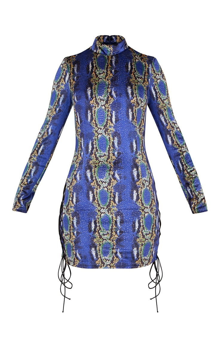 Cobalt Velvet Snake Print Side Lace Up Bodycon Dress 3