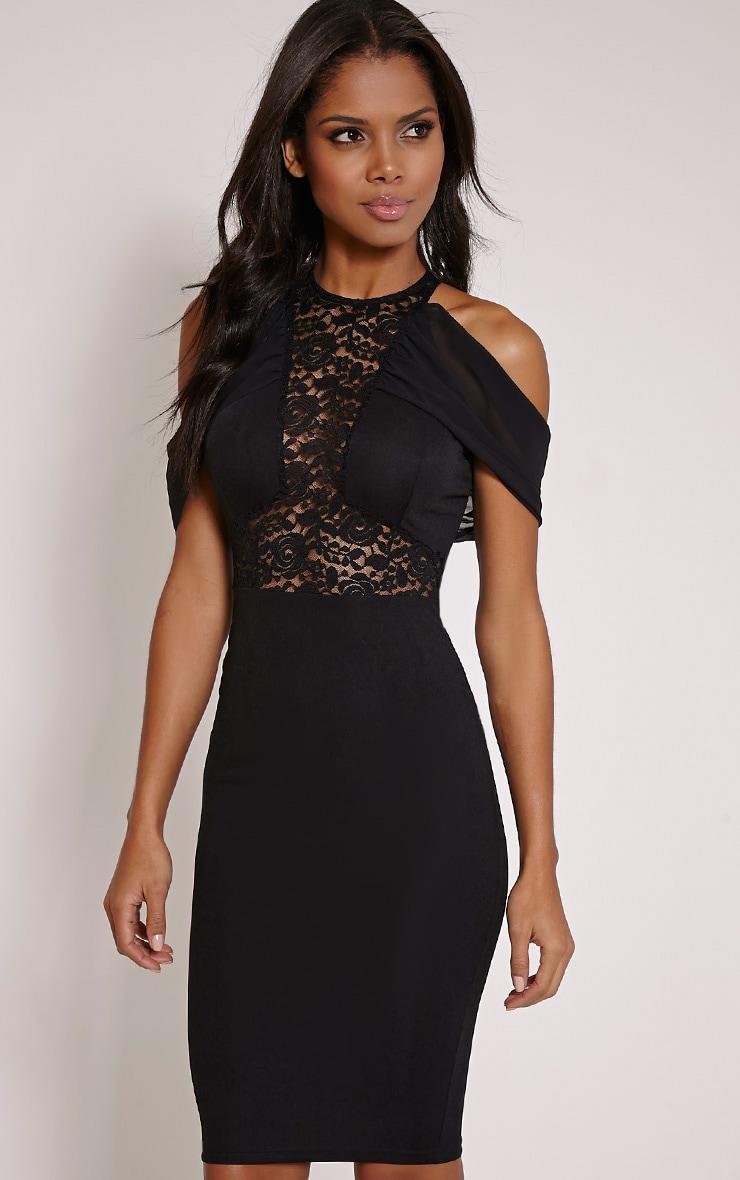 Taya Black Lace Insert Frill Midi Dress 4