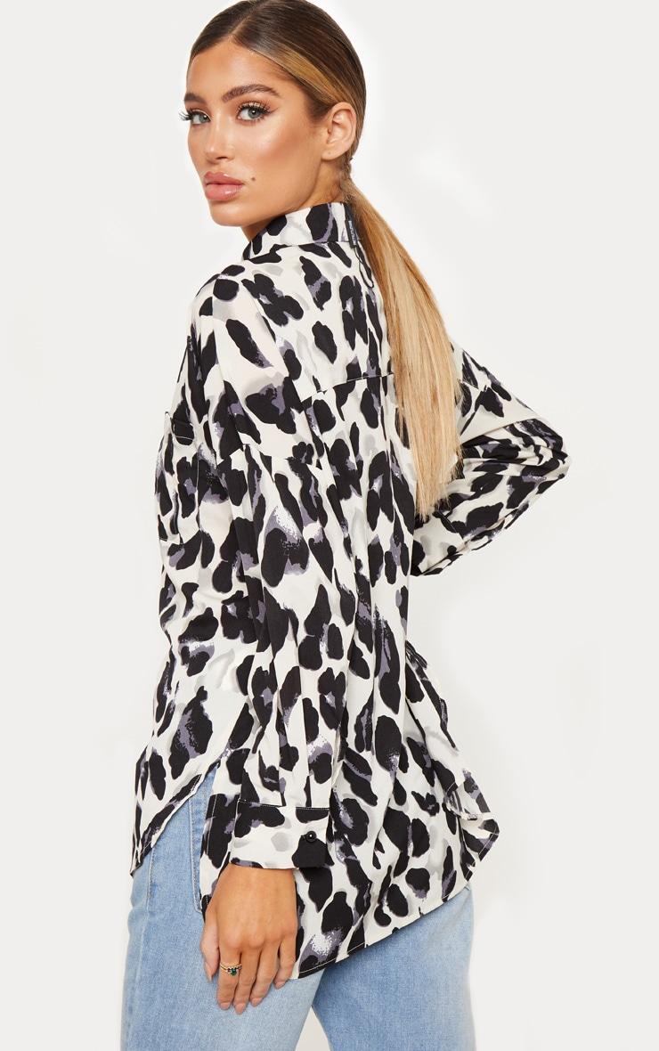 Mono Leopard Print Satin Shirt 2