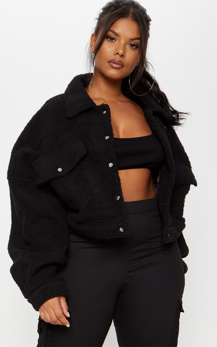 Plus Black Cropped Borg Trucker Jacket 1