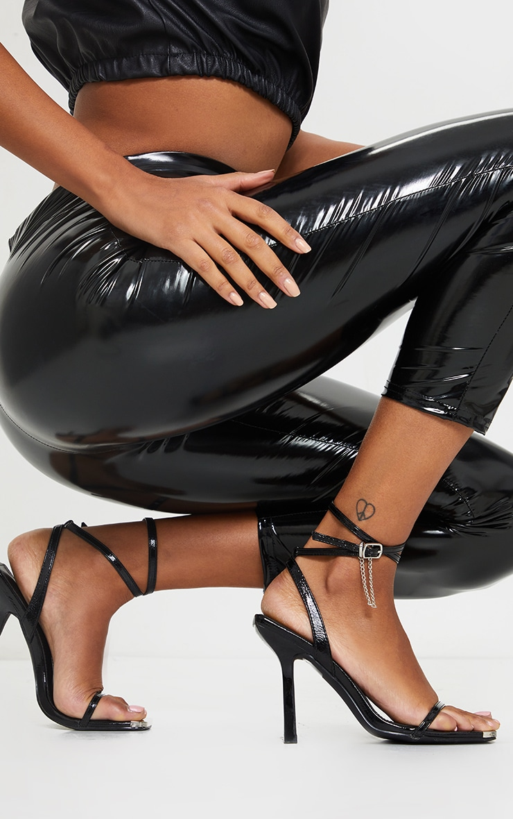 Black Square Toe High Heel Chain Trim Sandals 1