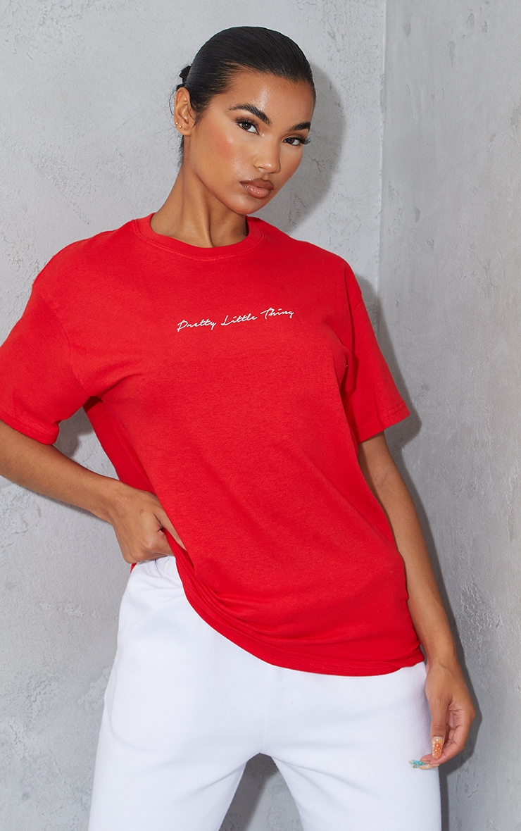 PRETTYLITTLETHING Red Graphic Oversized T Shirt 1