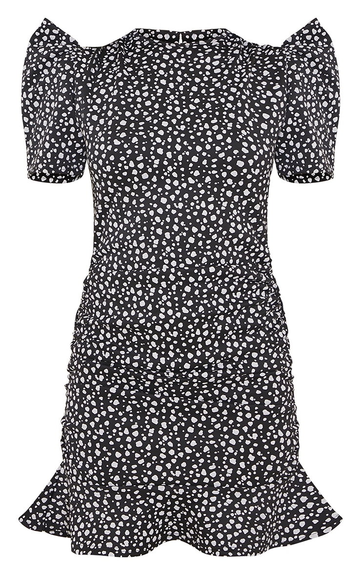 Black Dalmatian Puff Sleeve Ruched Bodycon Dress 5