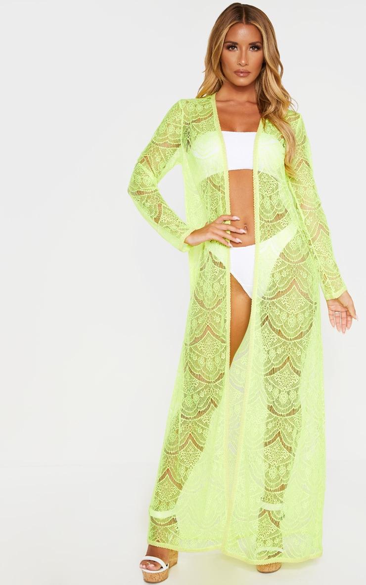 Kimono long en dentelle jaune fluo 1