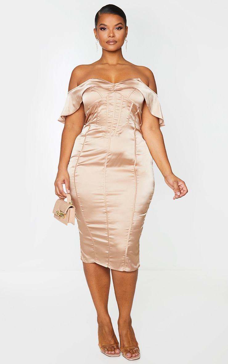 Plus Mocha Satin Corset Detail Bardot Midi Dress 1