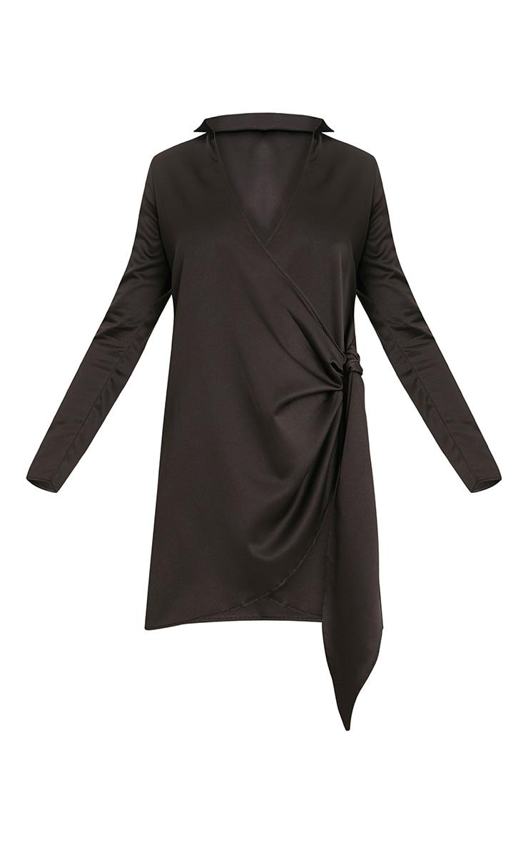 Shaylene robe chemise noire en satin à cordon à nouer à la taille 3