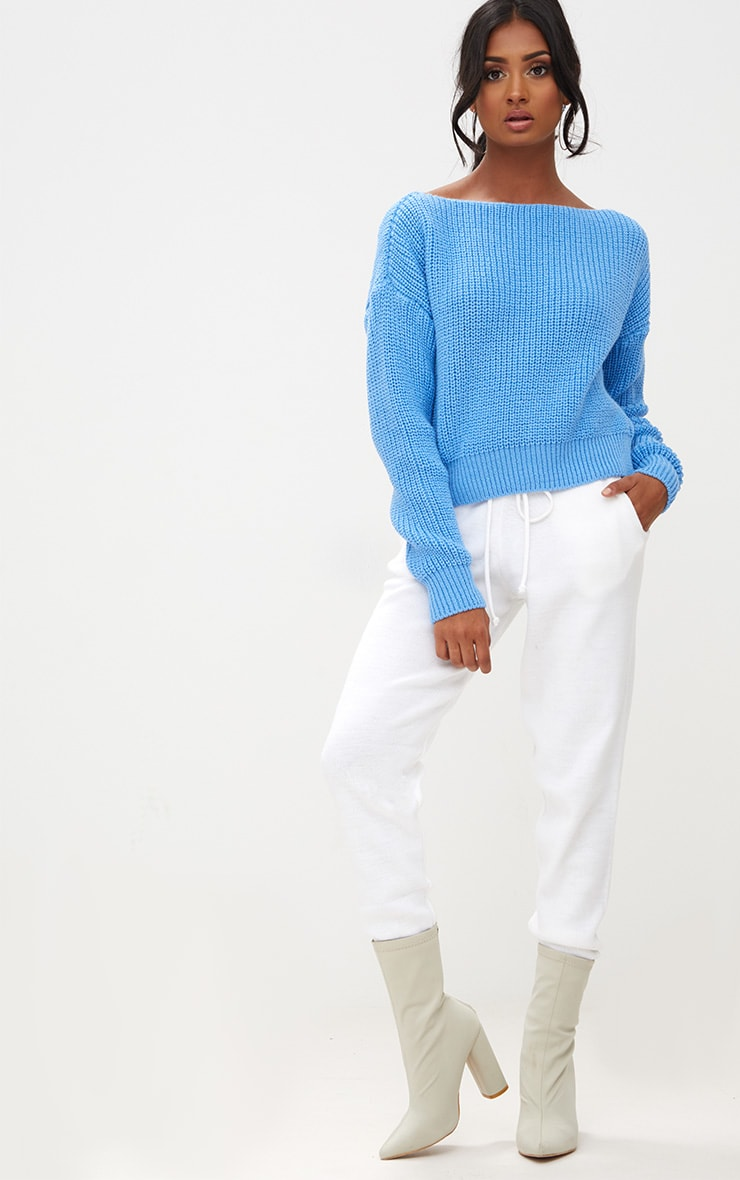 Christiana Blue Knit Slash Neck Crop Sweater 4
