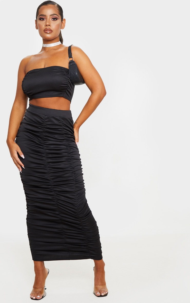 Black Scuba Double Ruched Midaxi Skirt 1