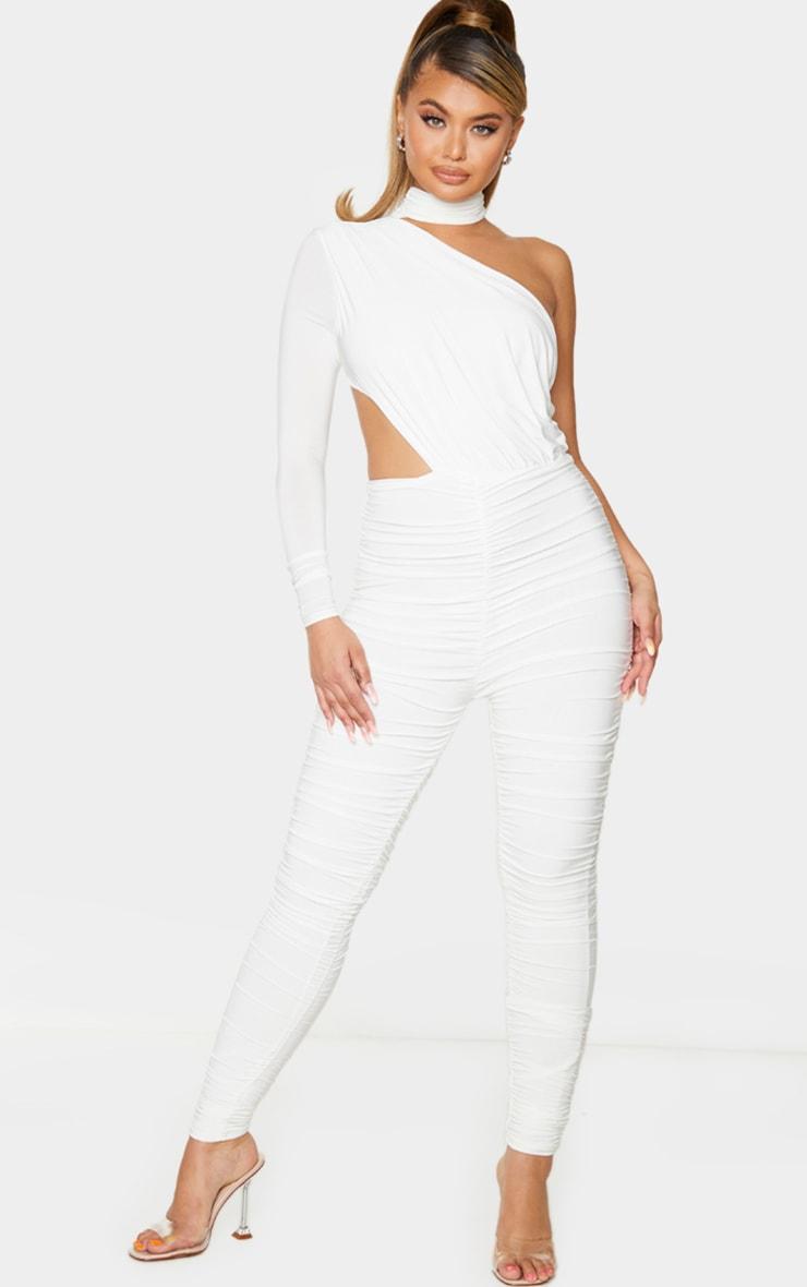 White Ruched One Shoulder Jumpsuit 1