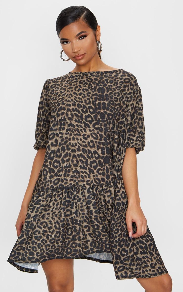 Brown Leopard Print Puff Sleeve Smock Dress 1