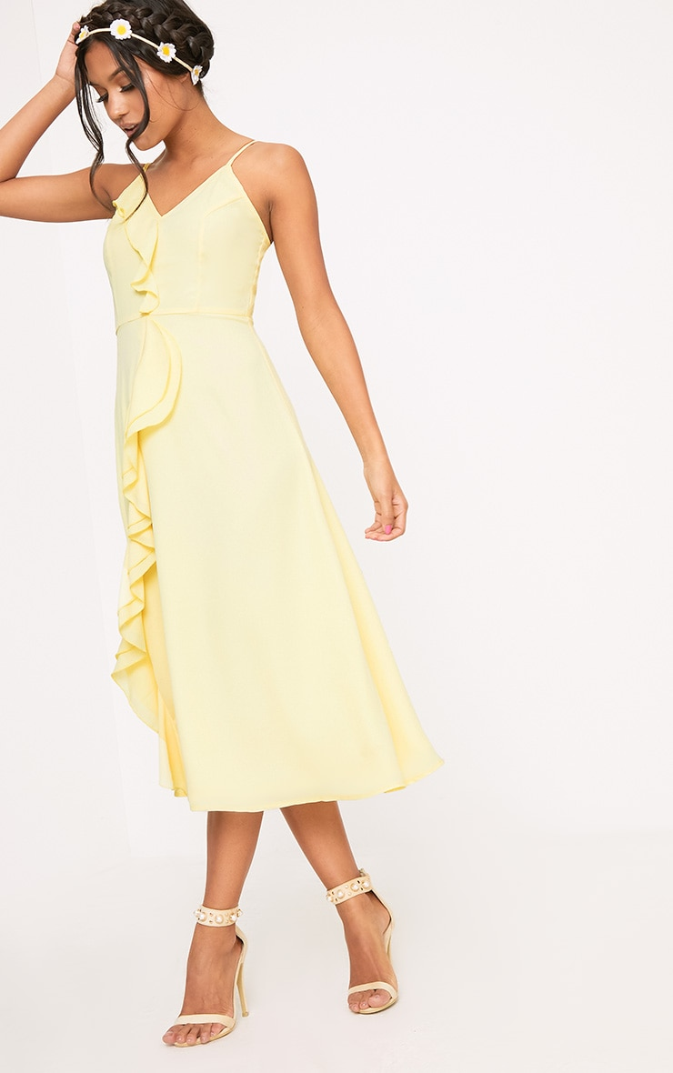 Dallia Lemon Ruffle Detail Midi Dress 4