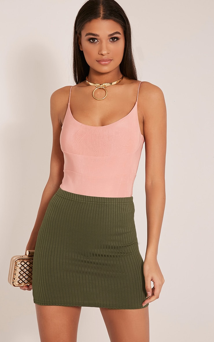 Kristine Khaki Ribbed Mini Skirt 1