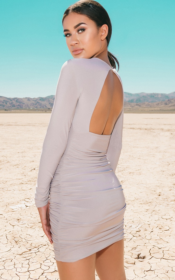 Ice Grey Long Sleeve Ruched Open Back Bodycon Dress 1