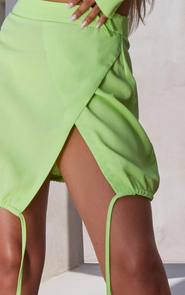 Lime Ruched Side Split Skirt 5