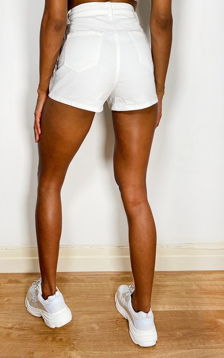 PRETTYLITTLETHING White Distress Denim Disco Shorts 3