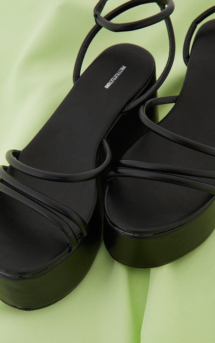 Black Tube Strappy High Flatform Sandals 4