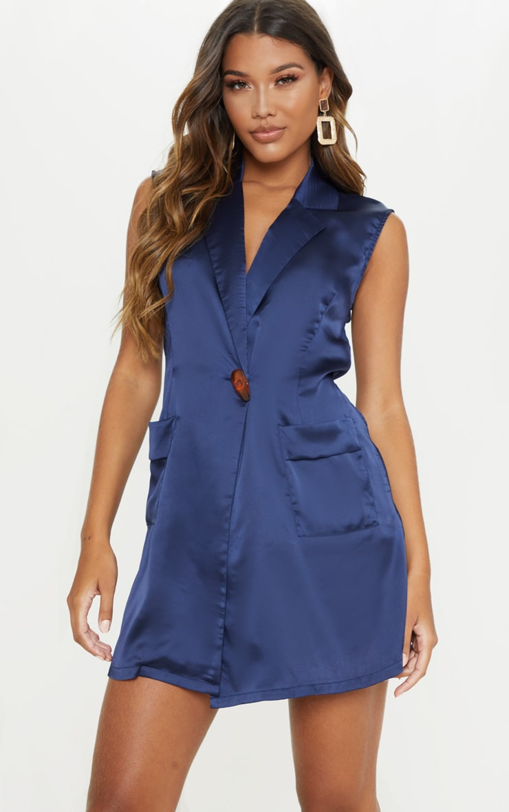 Navy Satin Sleeveless Blazer Dress 4