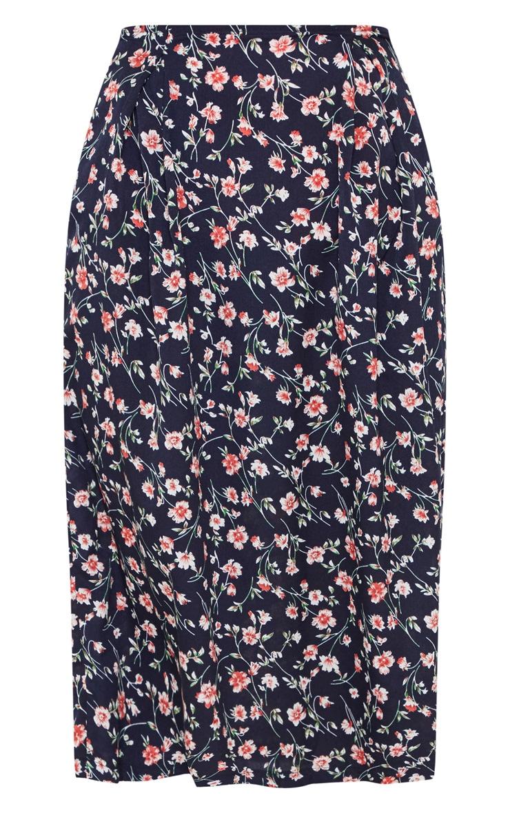 Navy Printed Pleat Front Woven Midi Skirt 3