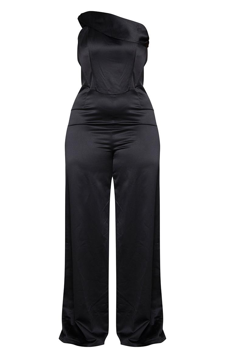 Plus Black One Shoulder Corset Detail Wide Leg Jumpsuit 5
