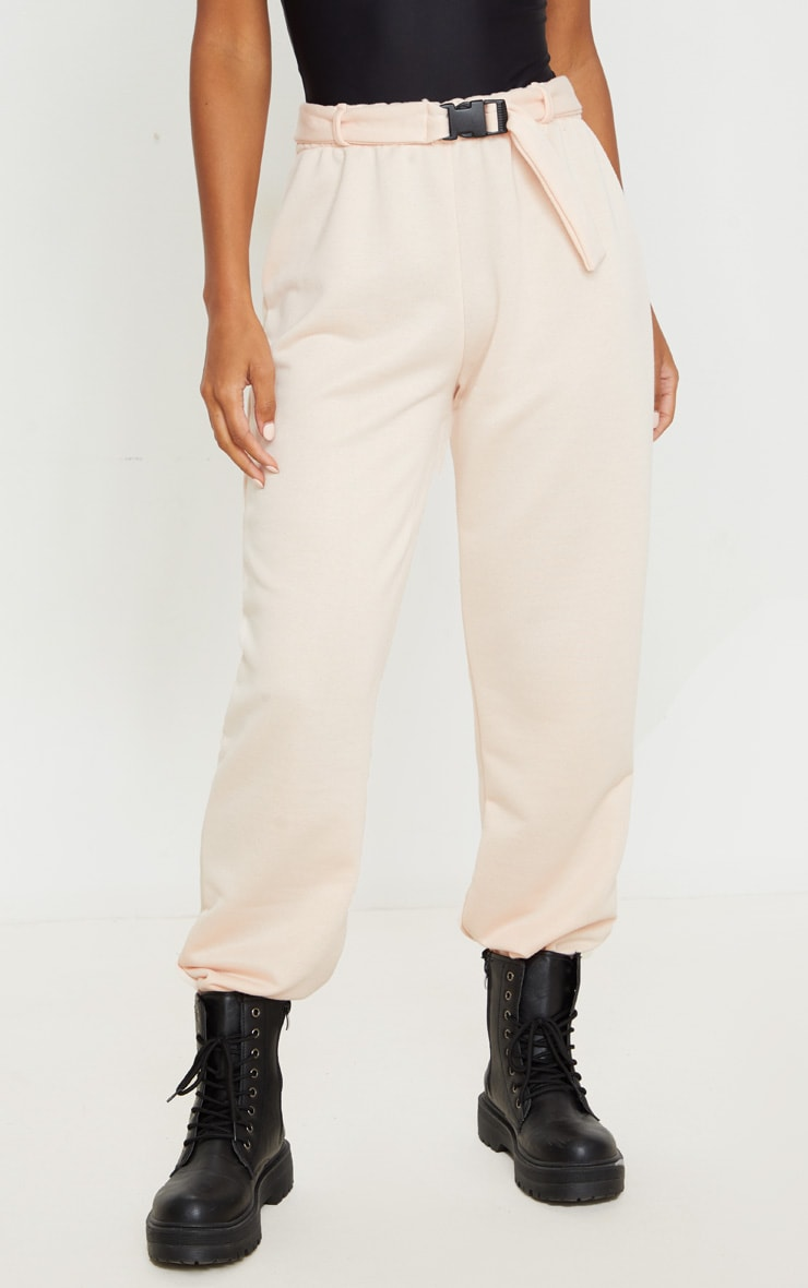 Pink Buckle Belted Casual Joggers 3