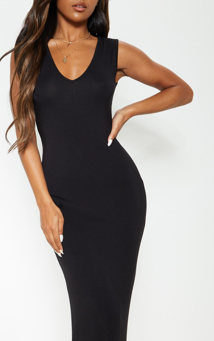 Black V Neck Maxi Dress 4