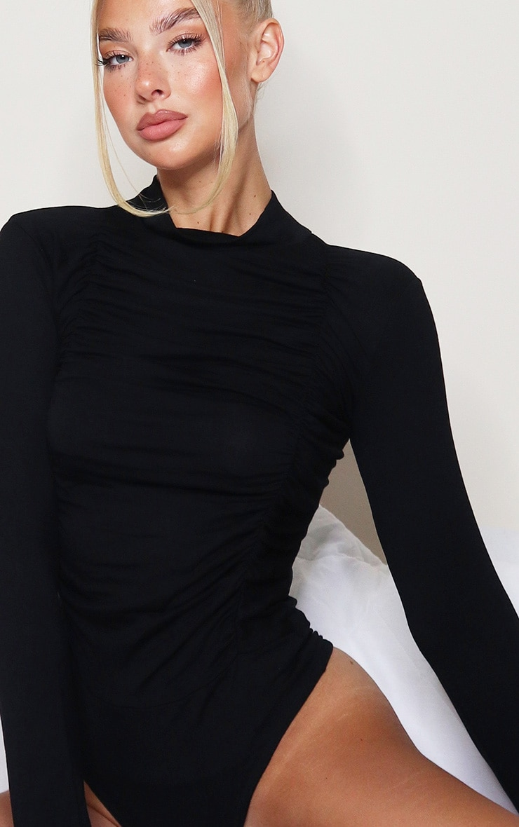 Black Jersey Draped High Neck Bodysuit 4