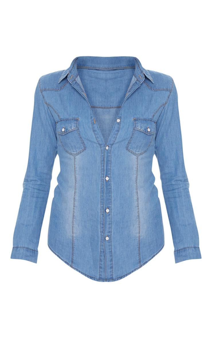 Chemise en jean à délavage moyen 4
