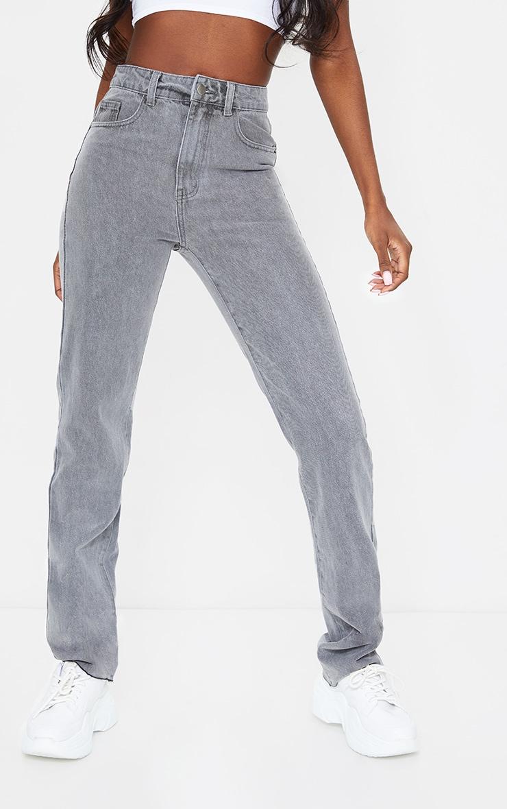 PRETTYLITTLETHING Tall Grey Wash Long Leg Straight Jean 2
