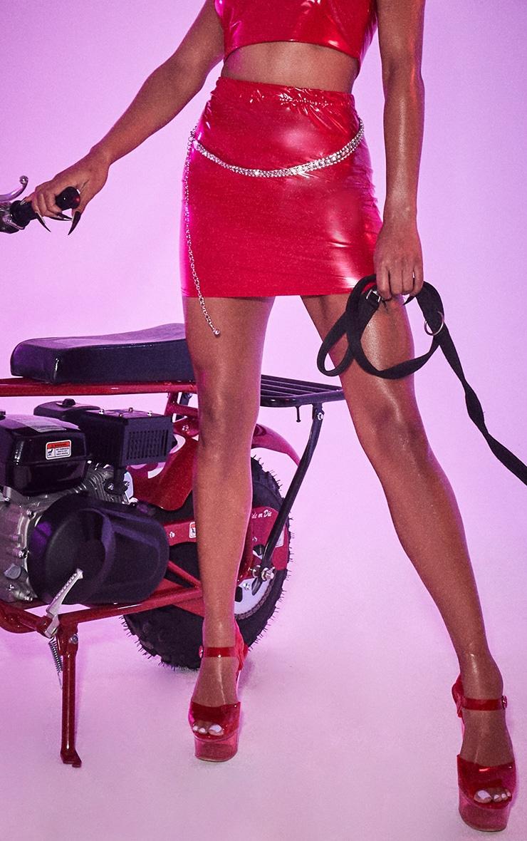 Red Vinyl Bodycon Mini Skirt 2