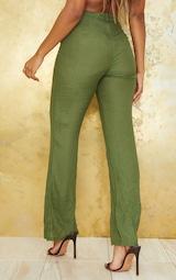Khaki Wide Leg Linen Look Beach Pants 3