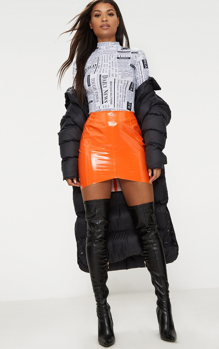 Orange Vinyl High Waisted Zip Up Mini Skirt 4