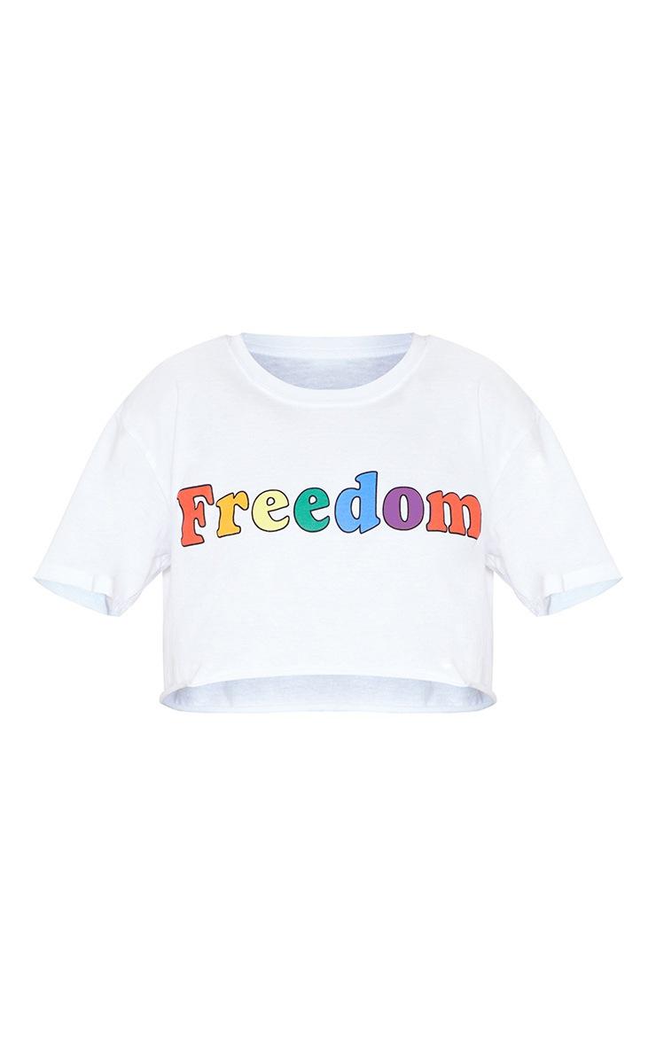 White FREEDOM Crop Tee  4