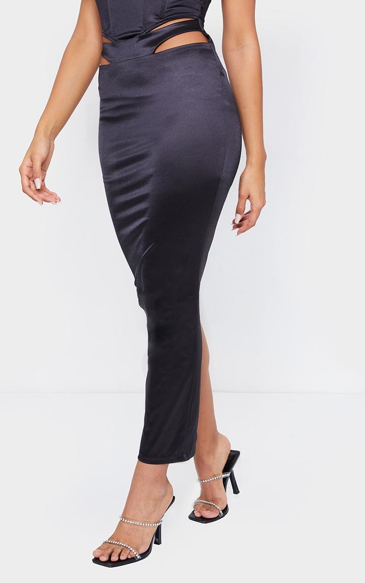 Black Stretch Satin Cut Out Hip Split Back Midaxi Skirt 3