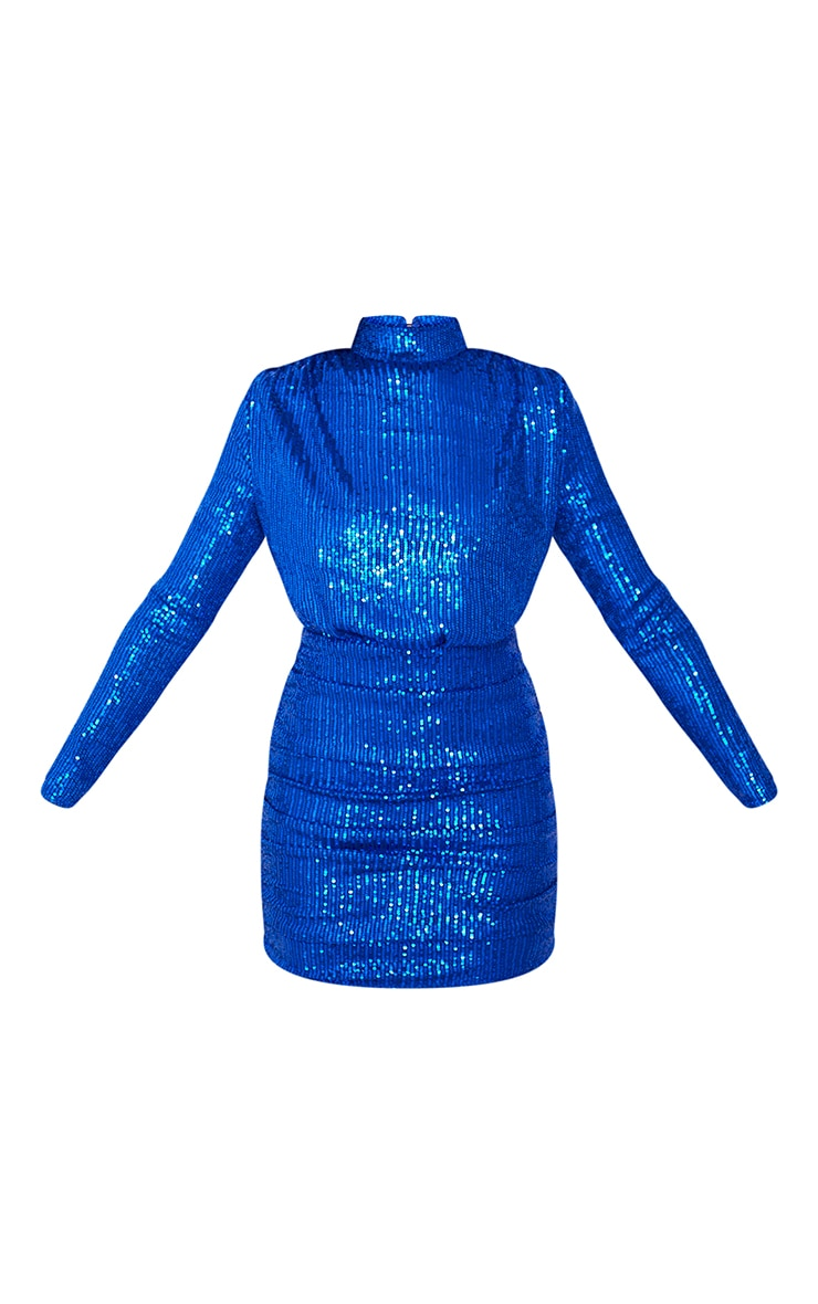Cobalt Sequin High Neck Open Back Gathered Skirt Bodycon Dress 5