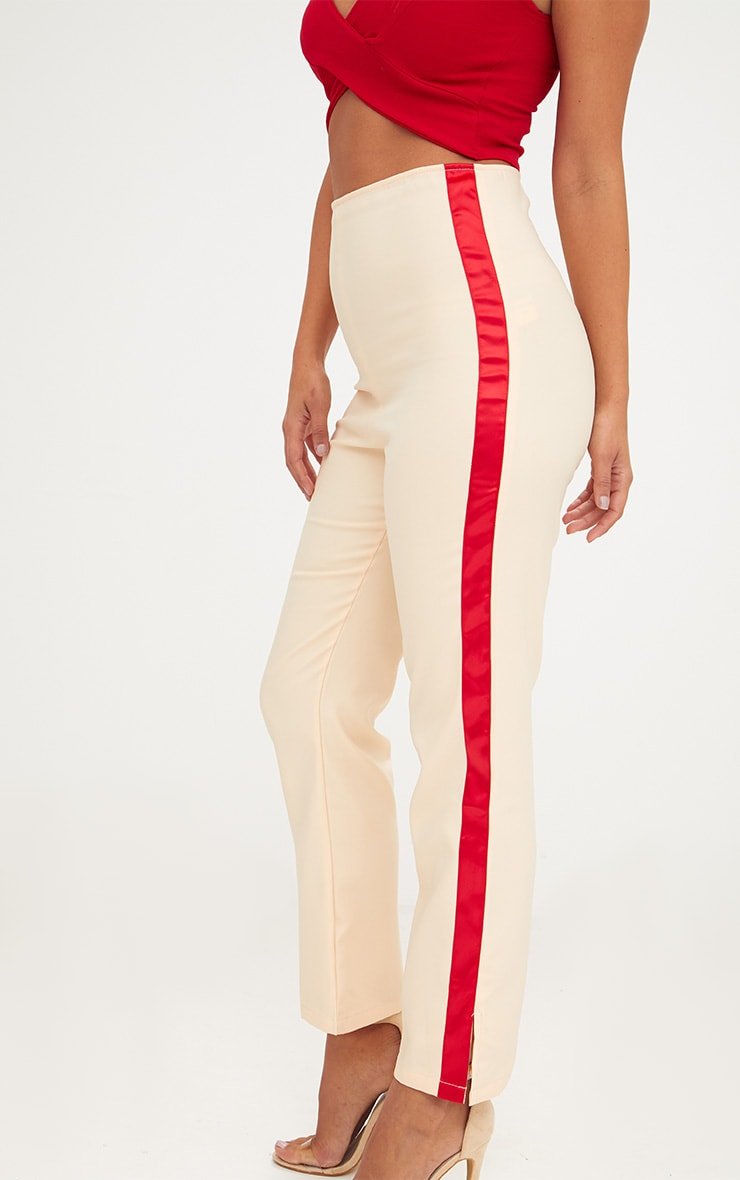 Nude Satin Stripe Formal Trousers 5